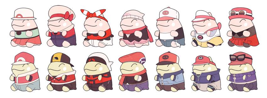 ^_^ baseball_cap beanie blue_(pokemon) blue_(pokemon)_(cosplay) blue_shirt calme_(pokemon) calme_(pokemon)_(cosplay) closed_eyes closed_eyes closed_mouth cosplay creatures_(company) game_freak gojya gold_(pokemon) gold_(pokemon)_(cosplay) haruka_(pokemon) haruka_(pokemon)_(cosplay) hat hat_ribbon hikari_(pokemon) hikari_(pokemon)_(cosplay) kotone_(pokemon) kotone_(pokemon)_(cosplay) kouki_(pokemon) kouki_(pokemon)_(cosplay) kyouhei_(pokemon) kyouhei_(pokemon)_(cosplay) long_sleeves mei_(pokemon) mei_(pokemon)_(cosplay) nintendo no_humans pokemon pokemon_(game) pokemon_bw pokemon_bw2 pokemon_dppt pokemon_frlg pokemon_hgss pokemon_oras pokemon_xy red_(pokemon) red_(pokemon)_(cosplay) red_hat red_skirt ribbon serena_(pokemon) serena_(pokemon)_(cosplay) shirt simple_background sitting skirt sleeveless sleeveless_shirt smile substitute sunglasses touko_(pokemon) touko_(pokemon)_(cosplay) touya_(pokemon) touya_(pokemon)_(cosplay) white_background white_hat yuuki_(pokemon) yuuki_(pokemon)_(cosplay)