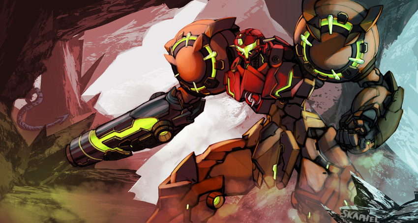 arm_cannon cave clenched_hand getter_robo jagged_rocks mecha metroid neon_trim nintendo power_suit ridley samus_aran skaphel smoke tail weapon