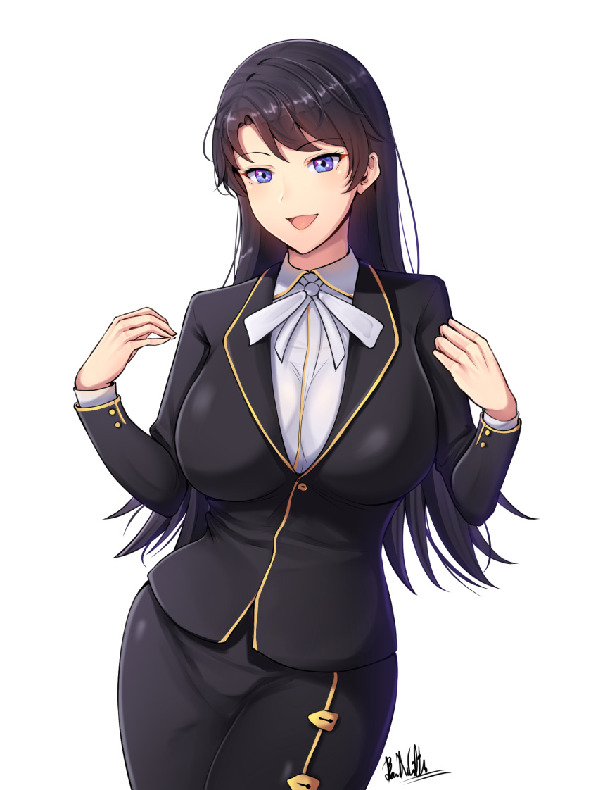 1girl :d artist_name band-width bangs black_hair black_jacket black_skirt blazer blue_eyes breasts dress_shirt eyebrows_visible_through_hair highres jacket large_breasts long_hair long_sleeves looking_at_viewer office_lady open_mouth original parted_bangs pencil_skirt shirt simple_background skirt smile solo white_background white_neckwear white_shirt