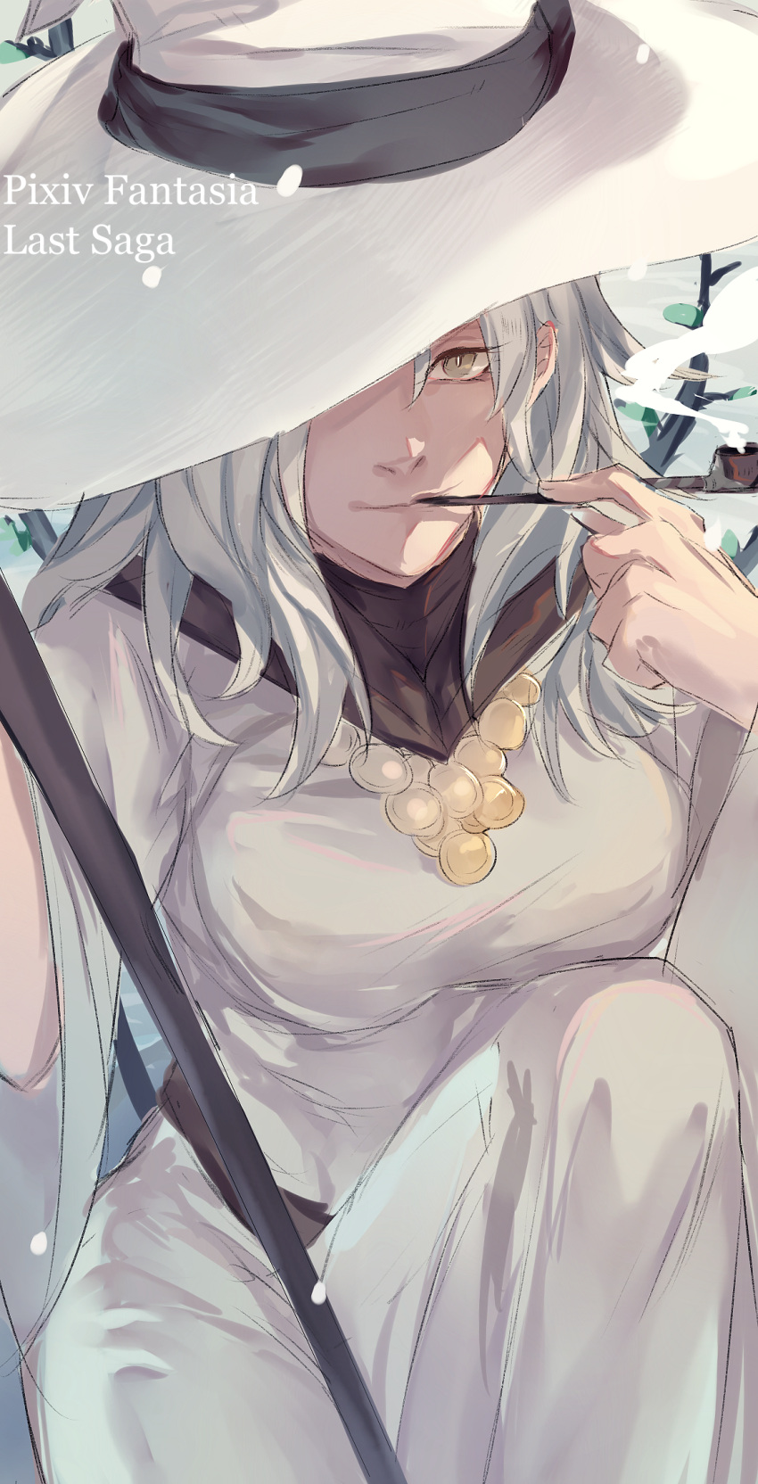 1girl brown_eyes copyright_name hand_up hat highres julia_yit kiseru knee_up long_hair looking_at_viewer miracera_master_of_the_magic_institute one_eye_covered outdoors pipe pixiv_fantasia_last_saga sitting sketch smile smoking staff white_hair white_hat white_robe wizard_hat