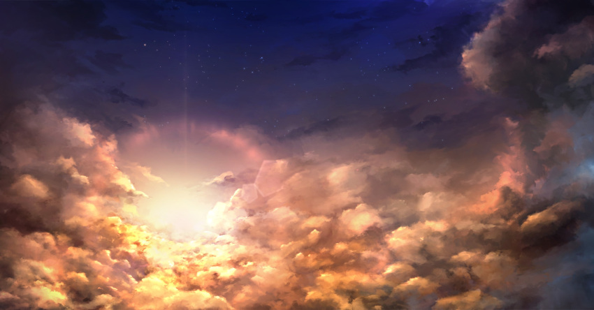 blue_skirt clouds cloudy_sky commentary_request highres night night_sky no_humans original outdoors scenery skirt sky star_(sky) starry_sky sunlight sunset utatanecocoa