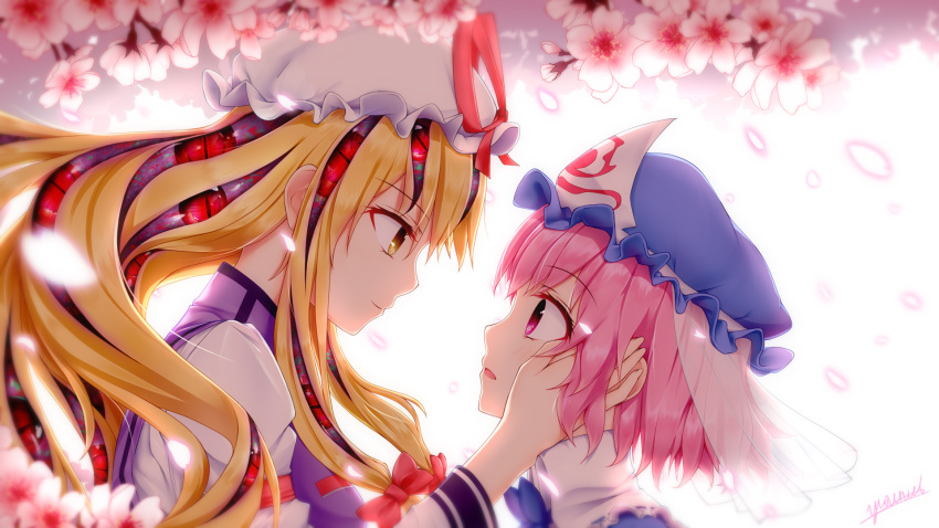 2girls backlighting bangs blonde_hair blue_bow blue_hat blurry blush bow bowtie cherry_blossoms closed_mouth commentary_request depth_of_field eye_contact eyeball eyebrows_visible_through_hair eyes frilled_shirt_collar frills from_side gap glowing hair_bow hand_in_another's_hair hand_on_another's_cheek hand_on_another's_face hand_up hat hat_ribbon highres juliet_sleeves long_hair long_sleeves looking_at_another low-tied_long_hair mob_cap multiple_girls open_mouth petals pink_eyes pink_hair profile puffy_sleeves red_bow red_eyes red_ribbon ribbon saigyouji_yuyuko see-through short_hair sidelocks signature smile staring tabard touhou triangular_headpiece upper_body veil vh(yuv-achi) white_hat wide_sleeves yakumo_yukari yellow_eyes