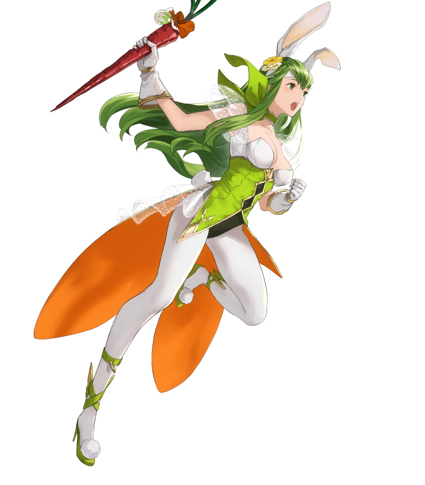 1girl animal_ears bangs breasts bunny_tail carrot choker fake_animal_ears fire_emblem fire_emblem:_monshou_no_nazo fire_emblem_heroes food full_body gloves green_eyes green_footwear green_hair hair_ornament headband high_heels highres holding leg_up leotard long_hair mayo_(becky2006) medium_breasts nintendo official_art pantyhose paola pom_pom_(clothes) see-through sleeveless solo tail transparent_background white_gloves