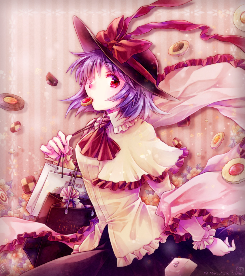 1girl almond arm_behind_back arm_up bag black_skirt blouse capelet carrying checkerboard_cookie chocolate commentary_request cookie cravat floral_background food food_in_mouth hagoromo hair_over_one_eye hat hat_ribbon highres itozaki_(itzk0110) long_sleeves looking_at_viewer nagae_iku partial_commentary pink_background purple_hair red_eyes red_neckwear ribbon shawl shirt shopping_bag short_hair shoulder_carry sideways_glance skirt solo standing striped striped_background touhou untucked_shirt upper_body white_blouse white_capelet