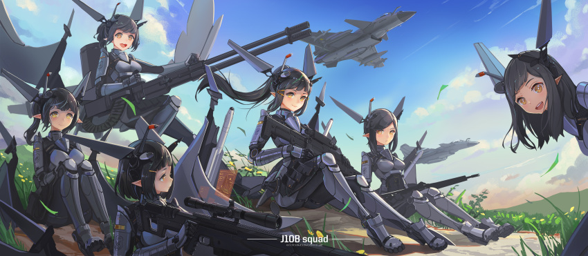 absurdres aircraft airplane black_hair bodysuit breasts cannon fighter_jet gun highres holding holding_weapon j-10 jet long_hair looking_at_viewer machine_gun mecha_musume military military_vehicle missile multiple_girls original pointy_ears ponytail rifle short_hair sima_naoteng sitting smile sniper_rifle weapon wind yellow_eyes