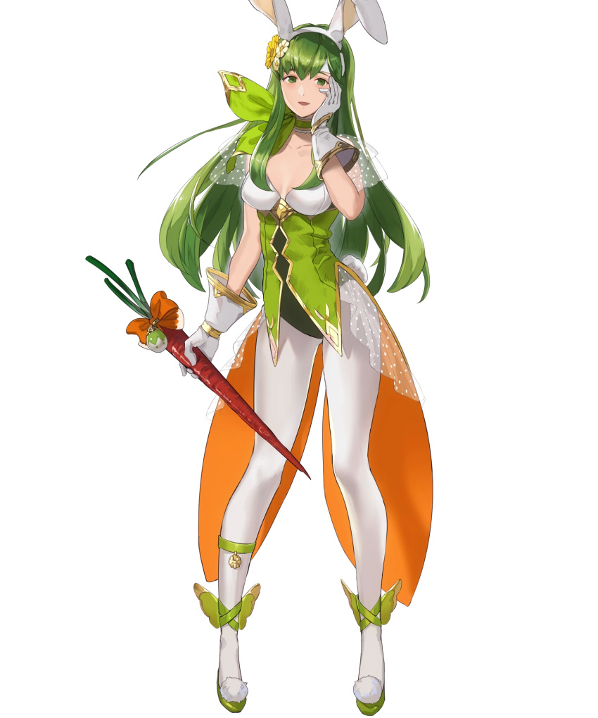 1girl animal_ears bangs breasts bunny_tail carrot choker collarbone fake_animal_ears fire_emblem fire_emblem:_monshou_no_nazo fire_emblem_heroes flower food full_body gloves green_eyes green_footwear green_hair hair_ornament hand_on_own_cheek hand_up headband high_heels highres holding leotard long_hair looking_at_viewer mayo_(becky2006) medium_breasts nintendo official_art open_mouth pantyhose paola pom_pom_(clothes) see-through shiny shiny_hair sleeveless smile solo standing tail transparent_background white_gloves