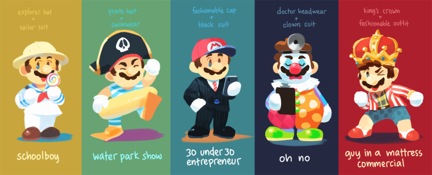 baseball_cap business_suit clipboard clown_nose cosplay costume_switch crown formal gigi_d.g. hat helmet innertube mario mario_(series) nintendo pirate_hat pith_helmet sailor_collar sailor_shirt shirt shorts striped striped_shirt suit super_mario_odyssey swimsuit