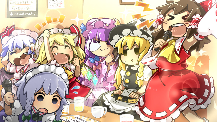 >_< 6+girls 96mikuma :> absurdres apron arm_above_head armpits bat_wings bending_forward black_skirt black_vest blonde_hair blouse blue_vest book_pillow bow braid brooch brown_hair chibi clenched_hand commentary_request covering_ears cravat crescent crescent_hair_ornament cup detached_sleeves double_bun dress drinking_glass empty_eyes fang flandre_scarlet flying_sweatdrops hair_bow hair_ornament hair_ribbon hair_tubes hakurei_reimu hat hat_ribbon highres holding holding_microphone indoors izayoi_sakuya jewelry jitome karaoke karaoke_box kirisame_marisa light_blue_hair long_hair looking_away maid_headdress microphone mob_cap multiple_girls music nose_bubble open_mouth patchouli_knowledge puffy_short_sleeves puffy_sleeves red_skirt red_vest remilia_scarlet ribbon ribbon-trimmed_sleeves ribbon_trim robe shirt short_hair short_sleeves sign singing single_braid sitting skirt sleeping solid_circle_eyes sparkle standing striped striped_dress table teacup touhou tress_ribbon triangle_mouth upper_teeth very_long_hair vest waist_apron white_blouse white_shirt wings witch_hat yellow_neckwear