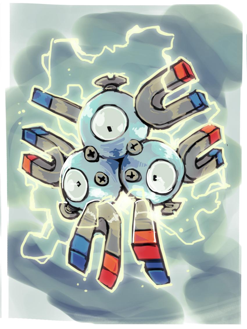 bummerdude commentary creature creatures_(company) electricity english_commentary full_body game_freak gen_1_pokemon grey_background highres magneton nintendo no_humans pokemon pokemon_(creature) solo