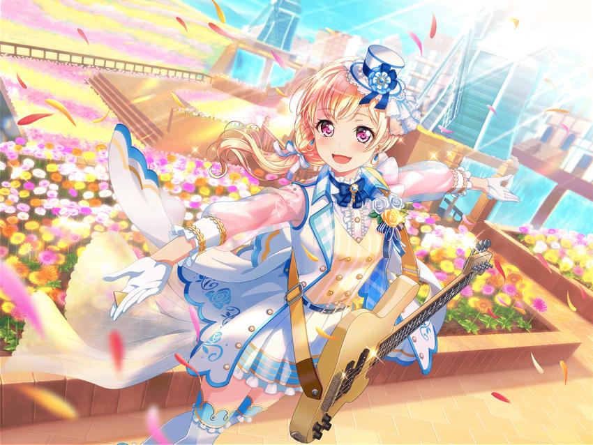 bang_dream! blonde_hair blush dress guitar long_hair pink_eyes shirasagi_chisato smile