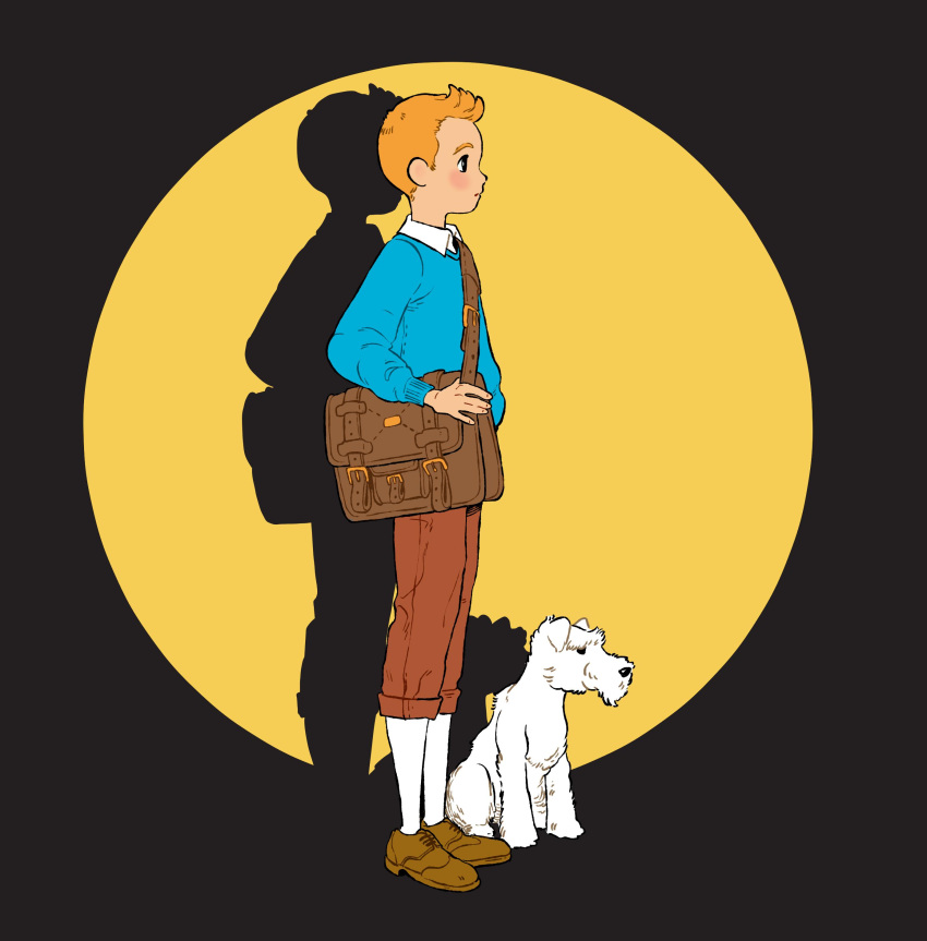 absurdres bag blonde_hair dog highres messenger_bag milou_(tintin) oskar_vega pullover shoulder_bag socks tintin tintin_(character)