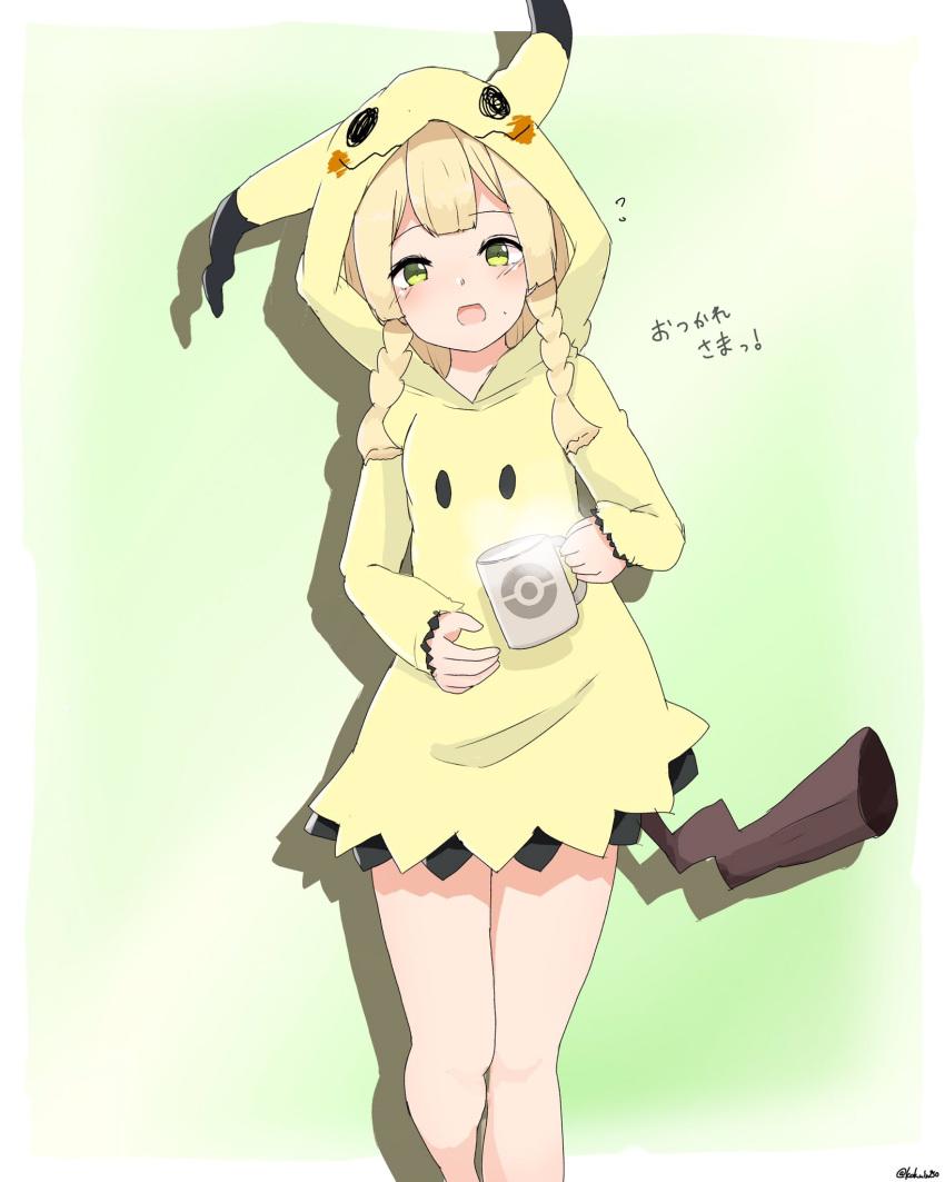1girl blonde_hair braid cosplay creatures_(company) cup fake_tail game_freak gen_7_pokemon green_eyes highres kokuin mimikyu mimikyu_(cosplay) mug nintendo pokemon pokemon_(game) pokemon_sm tail