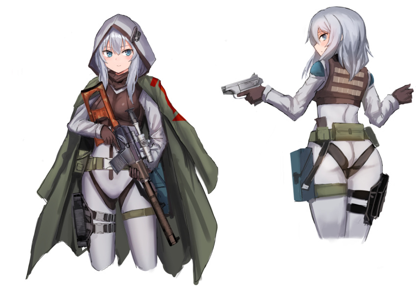 ass blue_eyes gloves gun handgun holding holding_gun holding_weapon holster hood jacket_on_shoulders lithium10mg original pistol rifle silver_hair sniper_rifle trigger_discipline vss_vintorez weapon white_background