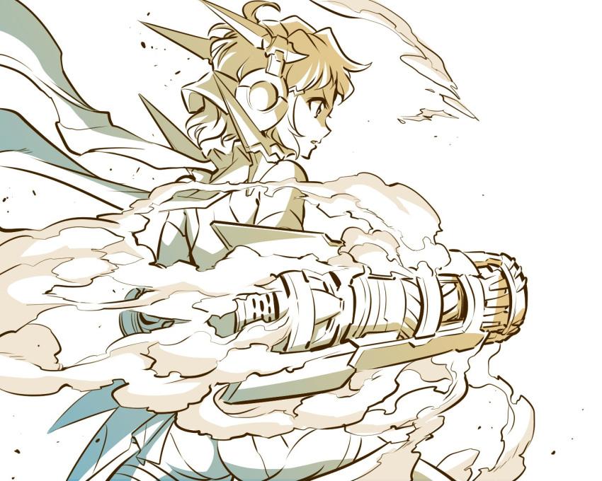 1girl ahoge ass bare_shoulders from_behind hair_ornament hairclip headphones highres ishiyumi power_fist scarf senki_zesshou_symphogear short_hair shorts steam tachibana_hibiki_(symphogear)