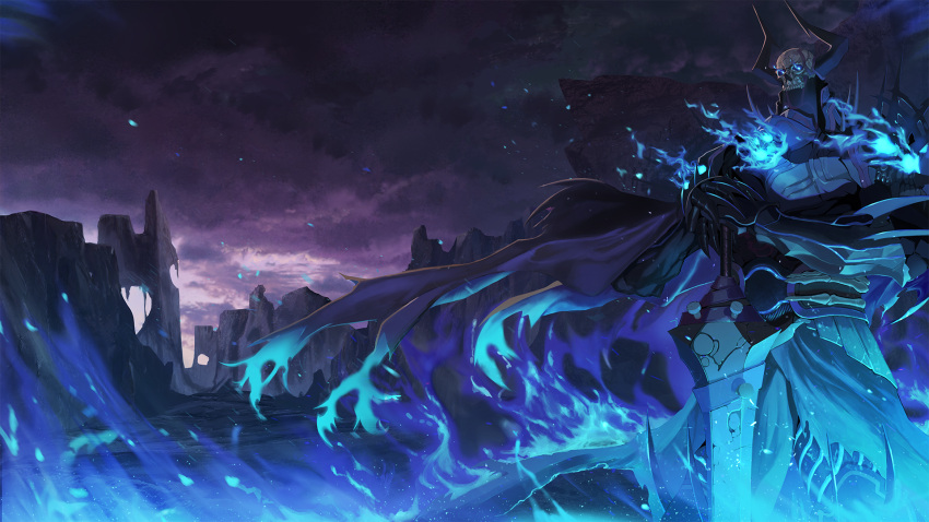 1boy clouds cloudy_sky derk fate/grand_order fate_(series) fire hands_on_hilt highres king_hassan_(fate/grand_order) male_focus outdoors skull sky solo sword weapon