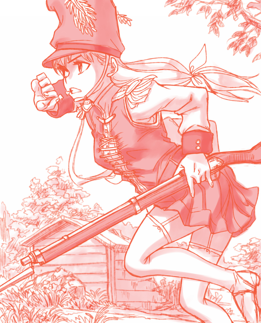 1girl absurdres antique_firearm bayonet boots bush epaulettes firearm firelock foliage gun hat highres holding holding_gun holding_weapon kageng long_hair military military_hat military_uniform musket original outdoors plant powder running shack soldier solo thigh-highs thigh_boots tree uniform weapon