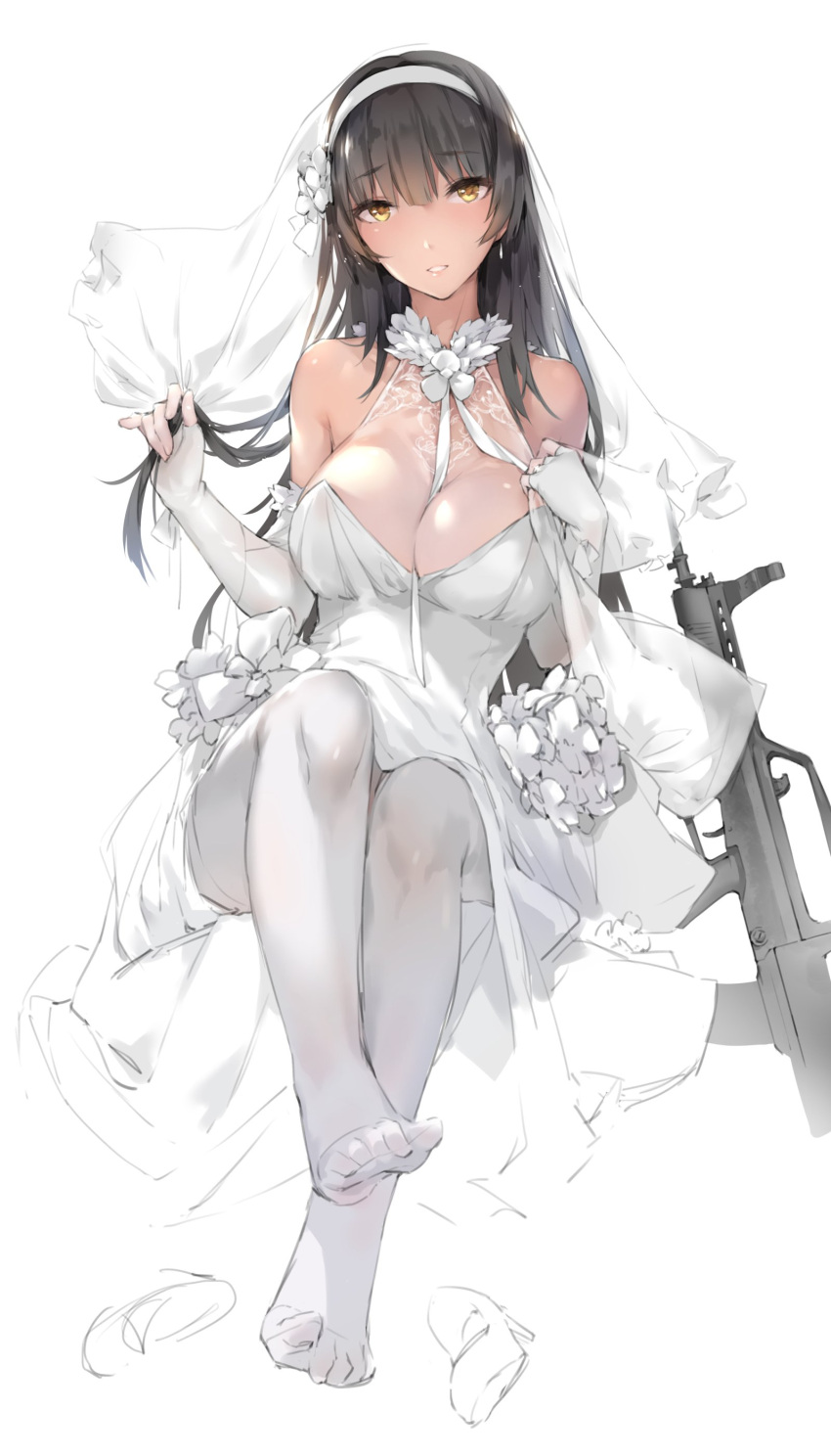 1girl absurdres assault_rifle bangs between_breasts black_hair blunt_bangs breasts bridal_veil bullpup cleavage dress elbow_gloves fingerless_gloves flower full_body girls_frontline gloves gun hair_flower hair_ornament hairband highres holding holding_hair jewelry large_breasts long_hair looking_at_viewer no_shoes pantyhose qbz-95 qbz-95_(girls_frontline) rifle ring simple_background sitting solo veil weapon wedding_band wedding_dress white_background white_dress white_gloves white_hairband white_legwear xie_yizhen yellow_eyes