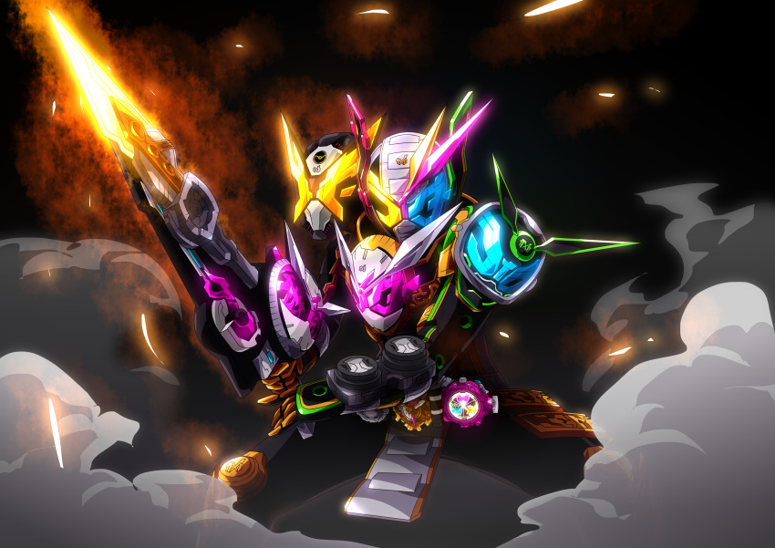 3boys absurdres armor belt black_background black_gloves bodysuit elbow_pads fusion gauntlets gloves glowing glowing_eyes glowing_weapon helmet highres holding holding_sword holding_weapon kamen_rider kamen_rider_geiz kamen_rider_woz kamen_rider_zi-o kamen_rider_zi-o_(series) looking_at_viewer male_focus mask multiple_boys otokamu polearm rider_belt standing sword tagme time_driver weapon zi-o_trinity