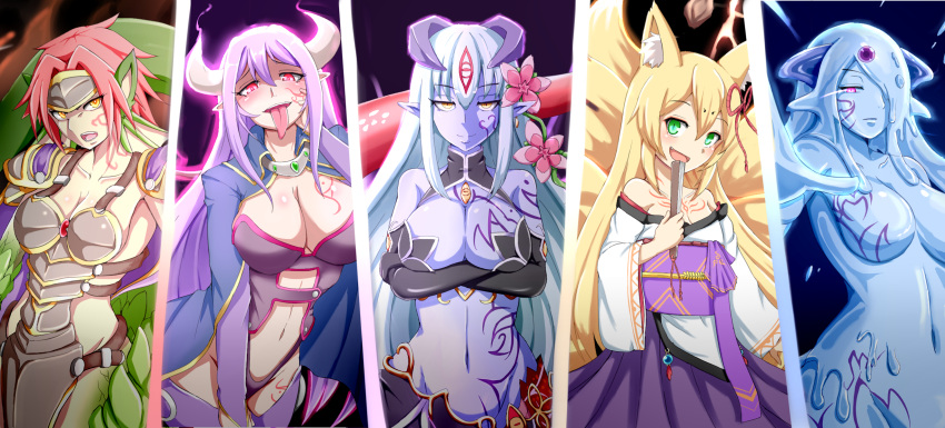 5girls alisfieze_fateburn_xvi alma_elma animal_ears arm_tattoo armor bare_shoulders black_bow black_gloves blonde_hair blue_skin blush bow breast_tattoo breasts cape crossed_arms demon_girl demon_horns dragon_girl dragon_tail elbow_gloves elvetie expressionless eyebrows_visible_through_hair facial_tattoo fan flower fox_ears fox_girl fox_tail gloves glowing glowing_eyes goo_girl granberia green_eyes hair_between_eyes hair_flower hair_ornament hair_over_one_eye head_fins highres horns japanese_clothes lamia long_hair looking_at_viewer mon-musu_quest! monster_girl multiple_girls multiple_tails navel one_eye_covered pink_eyes pointy_ears purple_hair raichi_(ddq0246) red_eyes redhead scales short_hair slit_pupils small_breasts smile tail tamamo_(mon-musu_quest!) tattoo tongue tongue_out upper_body white_hair yandere yellow_eyes