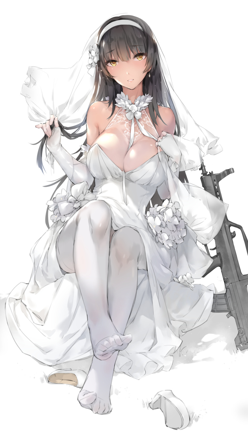 1girl absurdres assault_rifle bangs between_breasts black_hair blunt_bangs breasts bridal_veil bullpup cleavage commentary_request dress elbow_gloves feet fingerless_gloves flower full_body girls_frontline gloves gun hair_flower hair_ornament hairband high_heels highres holding holding_hair jewelry large_breasts long_hair looking_at_viewer pantyhose qbz-95 qbz-95_(girls_frontline) rifle ring shoes_removed simple_background sitting solo veil weapon wedding_band wedding_dress white_background white_dress white_footwear white_gloves white_hairband white_legwear xie_yizhen yellow_eyes