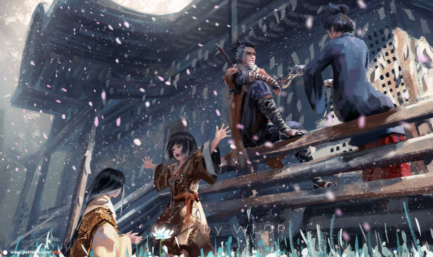 2boys 2girls black_hair cherry_blossoms choko_(cup) cup divine_child_of_rejuvenation emma_the_gentle_blade flower good_end grass highres japanese_clothes kimono kuro_the_divine_heir looking_at_another multicolored_hair multiple_boys multiple_girls outstretched_arms petals scarf sekiro sekiro:_shadows_die_twice short_hair sitting smile sword two-tone_hair weapon weapon_on_back wlop wrist_wrap