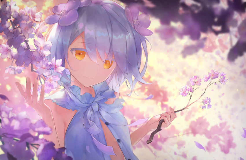 1girl absurdres bangs bare_shoulders blurry blush cherry_blossoms closed_mouth commentary depth_of_field eyebrows_visible_through_hair flower hair_between_eyes hair_flower hair_ornament highres holding_branch huge_filesize kudou_chitose looking_at_viewer nijisanji open_clothes outdoors ribbon short_hair sleeveless smile solo t6_ti upper_body virtual_youtuber white_hair white_neckwear white_ribbon yellow_eyes
