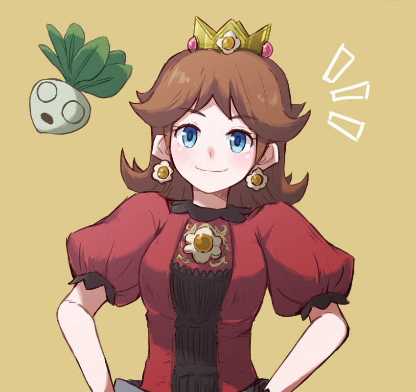 1girl blue_eyes breasts brown_background brown_hair crown dress earrings hands_on_hips highres jewelry long_hair looking_at_viewer misowhite nintendo princess_daisy puffy_short_sleeves puffy_sleeves red_dress short_sleeves smile super_smash_bros. turnip upper_body