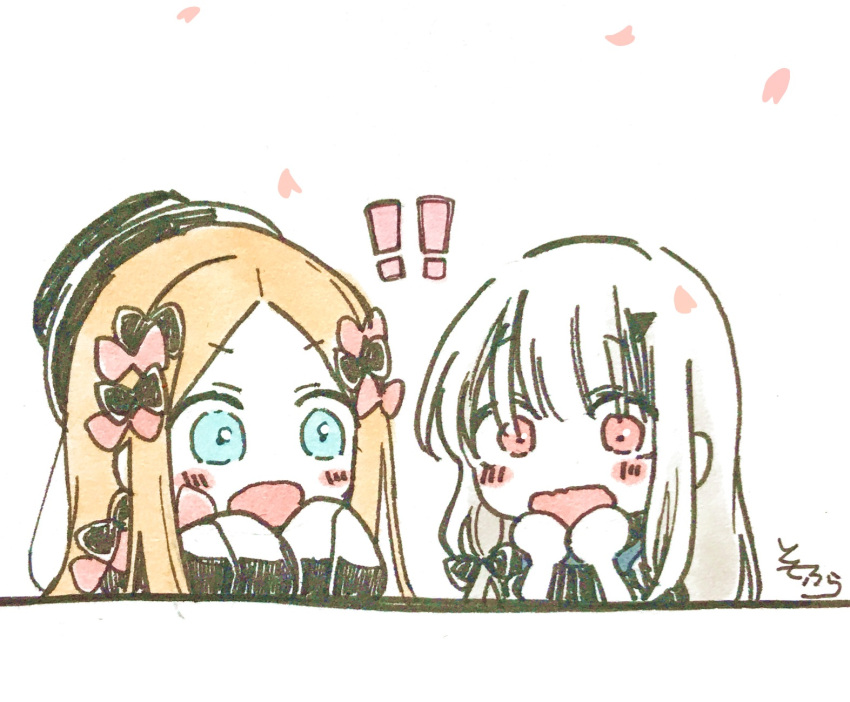 !! 2girls abigail_williams_(fate/grand_order) bangs blue_eyes blush_stickers bow chibi eyebrows_visible_through_hair fate/grand_order fate_(series) forehead hair_bow hat highres horn lavinia_whateley_(fate/grand_order) long_sleeves multiple_girls open_mouth parted_bangs petals red_bow red_eyes signature simple_background sleeves_past_fingers sleeves_past_wrists sofra traditional_media upper_body v-shaped_eyebrows wavy_mouth white_background