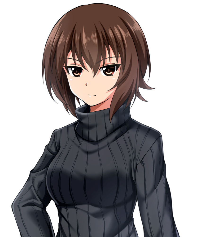 1girl bangs black_sweater brown_eyes brown_hair casual closed_mouth commentary eyebrows_visible_through_hair frown girls_und_panzer highres looking_at_viewer nishizumi_maho ribbed_sweater short_hair simple_background solo sweater turtleneck upper_body white_background zanntetu