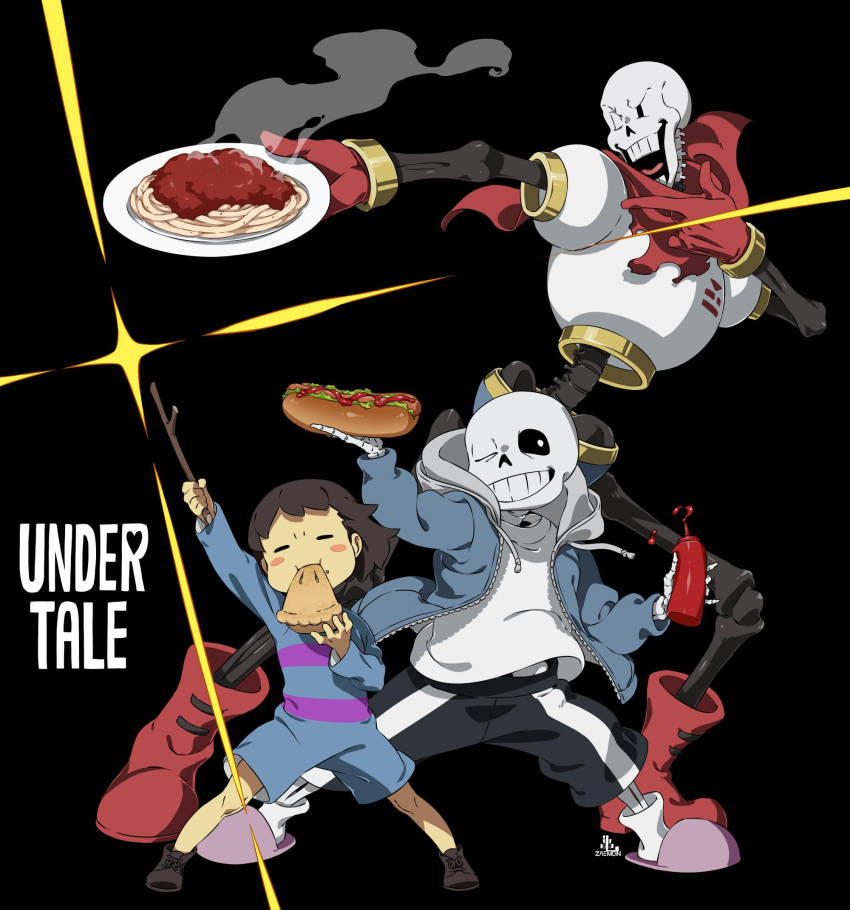 1other 2boys ;) =_= androgynous arm_up black_background black_shorts blush_stickers brothers brown_hair closed_eyes commentary copyright_name eating english_commentary food frisk_(undertale) gloves highres holding holding_food holding_plate holding_stick hood hood_down hoodie hot_dog kamezaemon ketchup_bottle legs_apart looking_at_viewer multiple_boys one_eye_closed open_clothes open_hoodie open_mouth papyrus_(undertale) pasta pie plate red_footwear red_gloves red_scarf sans scarf shirt shorts siblings simple_background single_vertical_stripe skeleton slippers smile spaghetti standing striped teeth undertale white_shirt