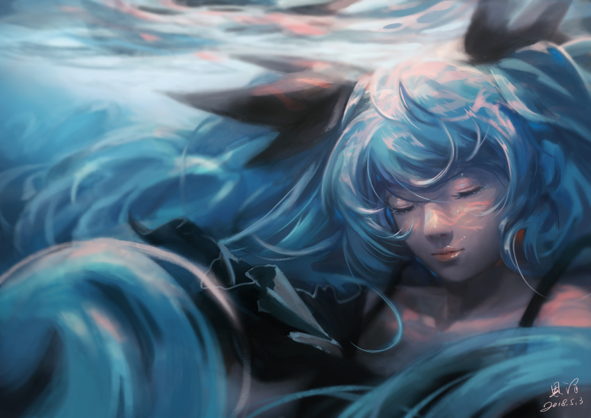 1girl absurdly_long_hair absurdres air_bubble black_dress blue_hair blue_theme bubble caustics closed_eyes commentary dated dress hair_ornament hatsune_miku highres long_hair shinkai_shoujo_(vocaloid) signature solo twintails underwater upper_body very_long_hair vocaloid xiaobanbei_milk