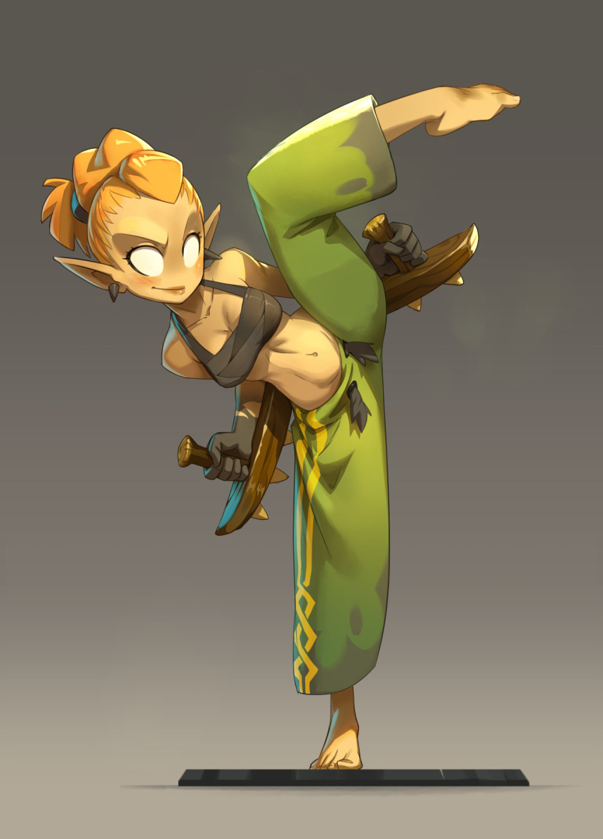 1girl baggy_pants barefoot baton_tonfavik black_gloves breasts cleavage dual_wielding earrings fighting_stance forehead full_body gloves green_pants grey_background halter_top halterneck highres holding jewelry lips medium_breasts midriff navel no_pupils official_art orange_hair pants plantar_flexion pointy_ears pompadour sacrier short_hair solo split standing standing_on_one_leg striped toes toned tonfa vertical_stripes waven weapon xavier_houssin