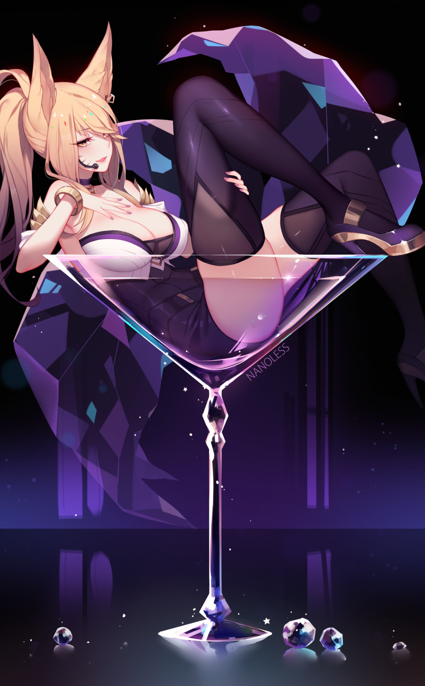 1girl absurdres ahri animal_ears armlet artist_name ass bangs bare_shoulders black_legwear blonde_hair bracelet breasts choker cleavage cocktail_glass collarbone covered_nipples crystal cup drinking_glass earrings eyebrows_visible_through_hair eyelashes fingernails fox_ears fox_tail hair_between_eyes hand_on_own_chest heart high_heels highres idol jewelry k/da_(league_of_legends) k/da_ahri knee_up large_breasts league_of_legends leg_grab long_hair looking_at_viewer lying makeup mascara microphone nail_polish nanoless navel on_back paid_reward parted_lips patreon_reward ponytail purple_choker purple_footwear purple_nails sideways_glance smile solo tail thigh-highs whisker_markings yellow_eyes