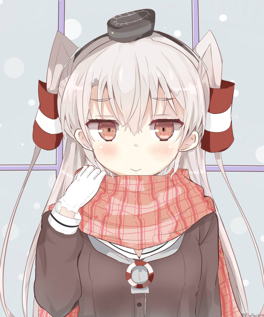 1girl amatsukaze_(kantai_collection) black_dress blush brown_eyes buttons dress eyebrows_visible_through_hair gloves hair_between_eyes hair_tubes highres kantai_collection long_hair long_sleeves pink_scarf pinoaisu plaid plaid_scarf sailor_collar sailor_dress scarf short_dress silver_hair solo twitter_username two_side_up white_gloves white_sailor_collar windsock