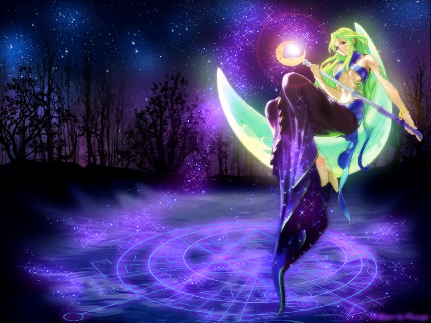 green_hair long_hair luna magic_circle moon night staff stars tales_of_(series) tales_of_symphonia