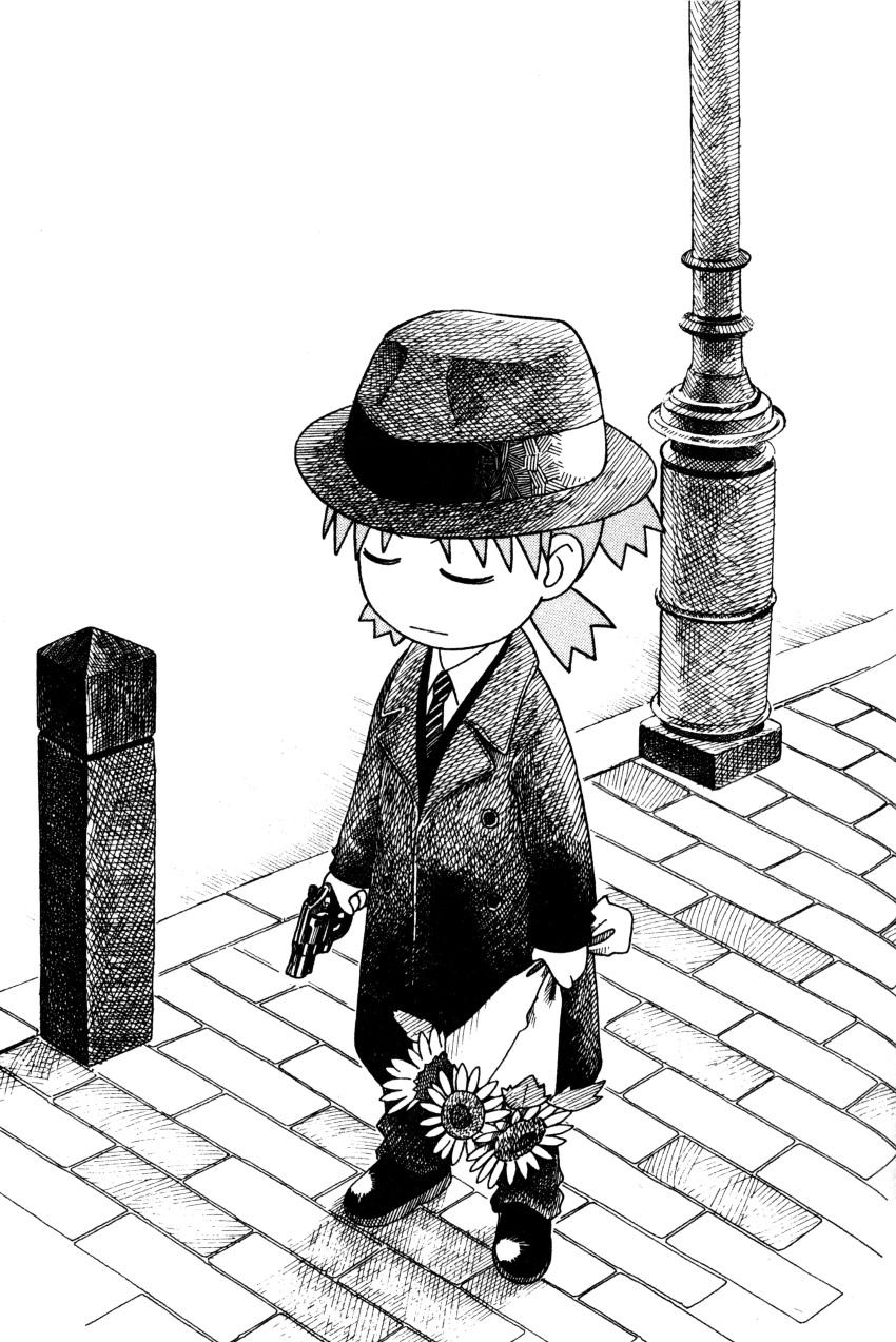 azuma_kiyohiko closed_eyes flower gun hat highres koiwai_yotsuba monochrome scan weapon yotsubato!