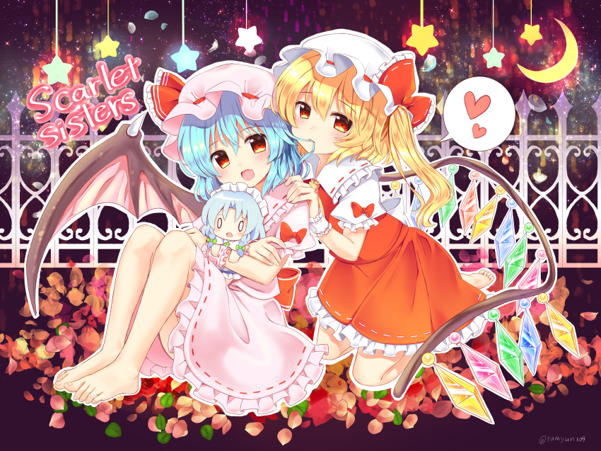 0_0 2girls absurdres artist_name ascot bangs barefoot bat_wings blonde_hair blue_hair blush bow braid character_doll commentary_request crescent crystal doll dress eyebrows_visible_through_hair flandre_scarlet frilled_bow frilled_ribbon frilled_shirt_collar frills full_body green_bow hair_between_eyes hair_bow hair_in_mouth hand_on_another's_shoulder hat hat_bow hat_ribbon head_tilt heart highres holding holding_doll huge_filesize izayoi_sakuya kneeling knees_up leaf light_particles long_hair looking_at_viewer maid maid_headdress miniskirt mob_cap mouth_hold multiple_girls one_side_up open_mouth outline petals petticoat pink_dress pink_headwear puffy_short_sleeves puffy_sleeves ramudia_(lamyun) red_bow red_eyes red_ribbon red_skirt red_vest remilia_scarlet ribbon ribbon-trimmed_collar ribbon-trimmed_dress ribbon_trim shirt short_hair short_sleeves siblings silver_hair sisters skin_fang skirt skirt_set smile spoken_heart star touhou twin_braids twitter_username vest white_headwear white_outline white_shirt wings wrist_cuffs yellow_neckwear