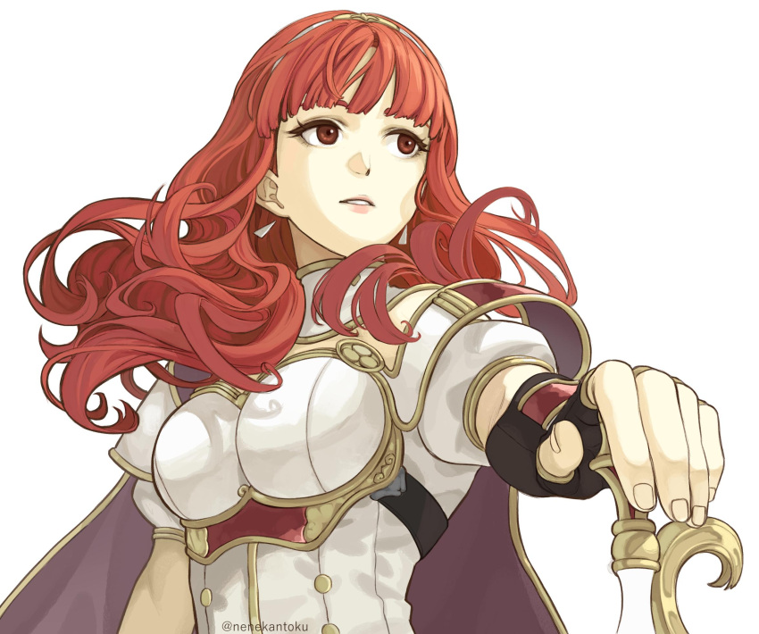 1girl breastplate cape celica_(fire_emblem) earrings fingerless_gloves fire_emblem fire_emblem_echoes:_mou_hitori_no_eiyuuou fire_emblem_gaiden gloves hairband highres intelligent_systems jewelry long_hair nenekantoku nintendo parted_lips red_eyes redhead short_sleeves simple_background solo twitter_username upper_body white_background