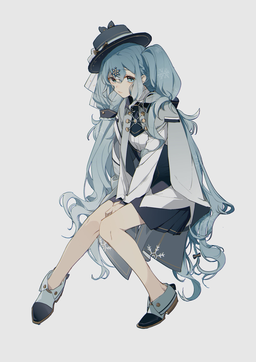 1girl absurdres bangs between_legs black_bow black_headwear black_skirt blue_eyes blue_hair bow braid cape closed_mouth eyebrows_visible_through_hair full_body grey_background grey_cape hair_between_eyes hair_bow hair_ornament hand_between_legs hat hatsune_miku highres knees_together_feet_apart long_hair long_sleeves looking_at_viewer pleated_skirt shirt shoes simple_background sitting skirt snowflake_hair_ornament solo tilted_headwear twintails very_long_hair vocaloid white_footwear white_shirt zhibuji_loom