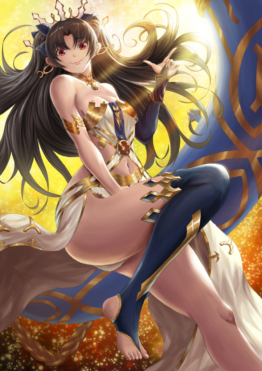 1girl absurdres bare_shoulders black_bridal_gauntlets black_hair blue_legwear breasts bridal_gauntlets cleavage closed_mouth crown dress earrings eyebrows_visible_through_hair fate/grand_order fate_(series) female floating_hair fujifuji924 full_moon hair_between_eyes hand_up heavenly_boat_maanna highres hoop_earrings ishtar_(fate/grand_order) jewelry knee_up lips long_hair medium_breasts moon navel navel_cutout neck neck_ring necklace red_eyes revealing_clothes single_bridal_gauntlet single_thighhigh smile solo strapless strapless_dress thigh-highs thighlet thighs toeless_legwear tohsaka_rin type-moon white_dress
