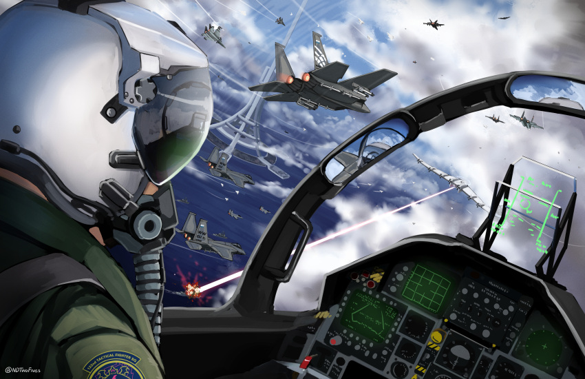 ace_combat_7 aircraft airplane clouds cloudy_sky cockpit condensation_trail explosion f-15_eagle fighter_jet helmet highres jet laser military military_vehicle ndtwofives ocean pilot_suit reflection ship signature sky su-30 tower twitter_username war watercraft