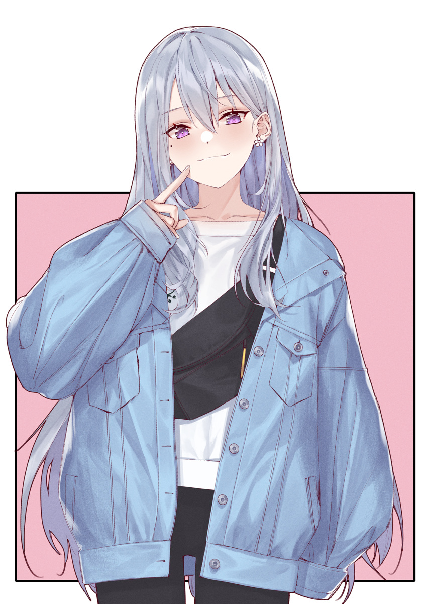 1girl arm_at_side bag bangs black_pants blue_jacket blush breast_pocket buttons closed_mouth collarbone commentary_request cowboy_shot denim denim_jacket earrings eyebrows_visible_through_hair finger_to_mouth flower_earrings hair_between_eyes hand_up head_tilt highres higuchi_kaede index_finger_raised jacket jewelry long_hair long_sleeves looking_at_viewer nijisanji nishiro_ryoujin open_clothes open_jacket pants pocket shirt silver_hair sleeves_past_wrists smile solo unbuttoned violet_eyes virtual_youtuber white_shirt