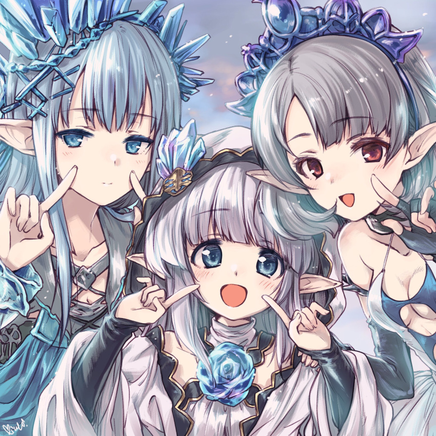 3girls blue_eyes blue_hair blush breasts character_request collarbone commentary_request erin_(granblue_fantasy) granblue_fantasy grey_hair hair_ornament highres hood hooded_jacket jacket kuroi_mimei lily_(granblue_fantasy) long_hair looking_at_viewer multiple_girls open_mouth pointing pointing_at_self pointy_ears portrait red_eyes short_hair small_breasts tia_(granblue_fantasy) tiara