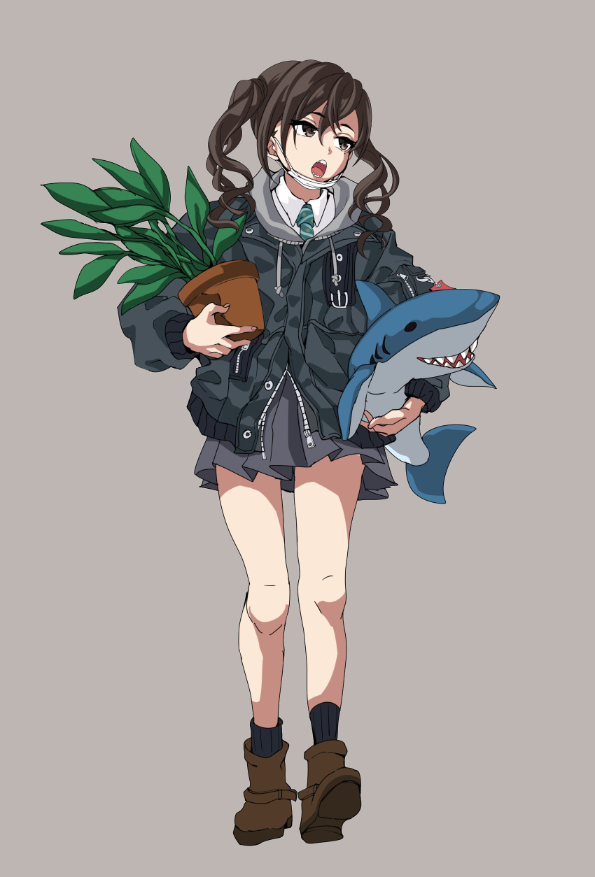 1girl absurdres boots brown_eyes brown_hair commentary_request full_body grey_background grey_jacket grey_skirt highres holding holding_stuffed_animal idolmaster idolmaster_cinderella_girls jacket leon_the_professional looking_away mask_pull mid-stride open_mouth plant pleated_skirt potted_plant sharp_teeth simple_background sketch skirt solo stuffed_animal stuffed_shark stuffed_toy sunazuka_akira tdnd-96 teeth twintails