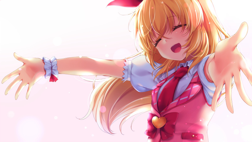 1girl aikatsu! aikatsu!_(series) blonde_hair breasts chiyonekoko closed_eyes commentary_request eyebrows_visible_through_hair facing_away foreshortening gradient gradient_background hair_between_eyes hair_ribbon highres hoshimiya_ichigo light_particles necktie open_hands open_mouth outstretched_arms pink_background puffy_short_sleeves puffy_sleeves red_neckwear red_vest ribbon shirt short_sleeves small_breasts solo spread_arms standing upper_body vest waistcoat white_shirt wrist_cuffs