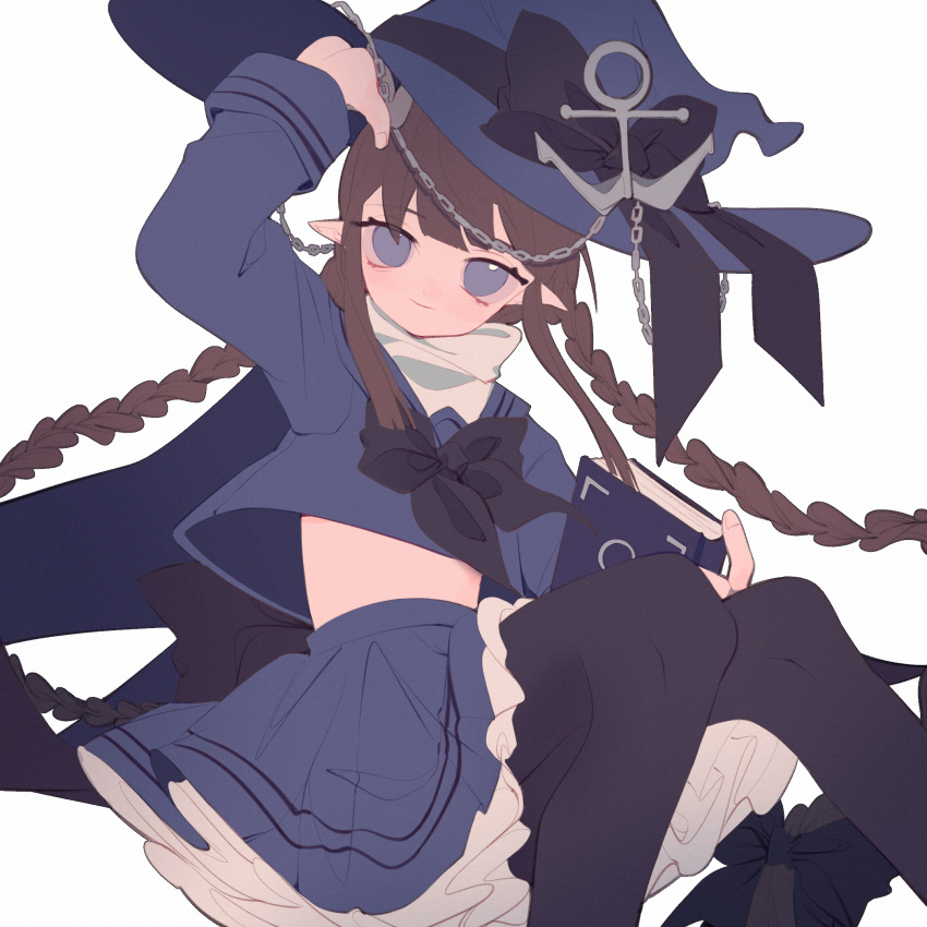 1girl anchor_hat_ornament arm_up blue_eyes blue_legwear book bow braid brown_hair dress frilled_skirt frills half-closed_eyes hat hat_bow highres holding holding_book long_hair oounabara_to_wadanohara pantyhose petticoat pointy_ears sailor_dress sailor_hat shirt_lift sidelocks skirt smile solo tsurime twin_braids very_long_hair wadanohara witch witch_hat yexie_pottle