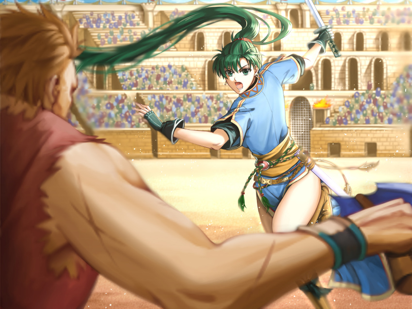 1boy 1girl absurdres arena battle colosseum delsaber earrings fingerless_gloves fire_emblem fire_emblem:_rekka_no_ken fire_emblem_heroes gloves green_eyes green_hair high_ponytail highres intelligent_systems jewelry long_hair looking_at_viewer lyndis_(fire_emblem) nintendo pelvic_curtain ponytail side_slit sword weapon