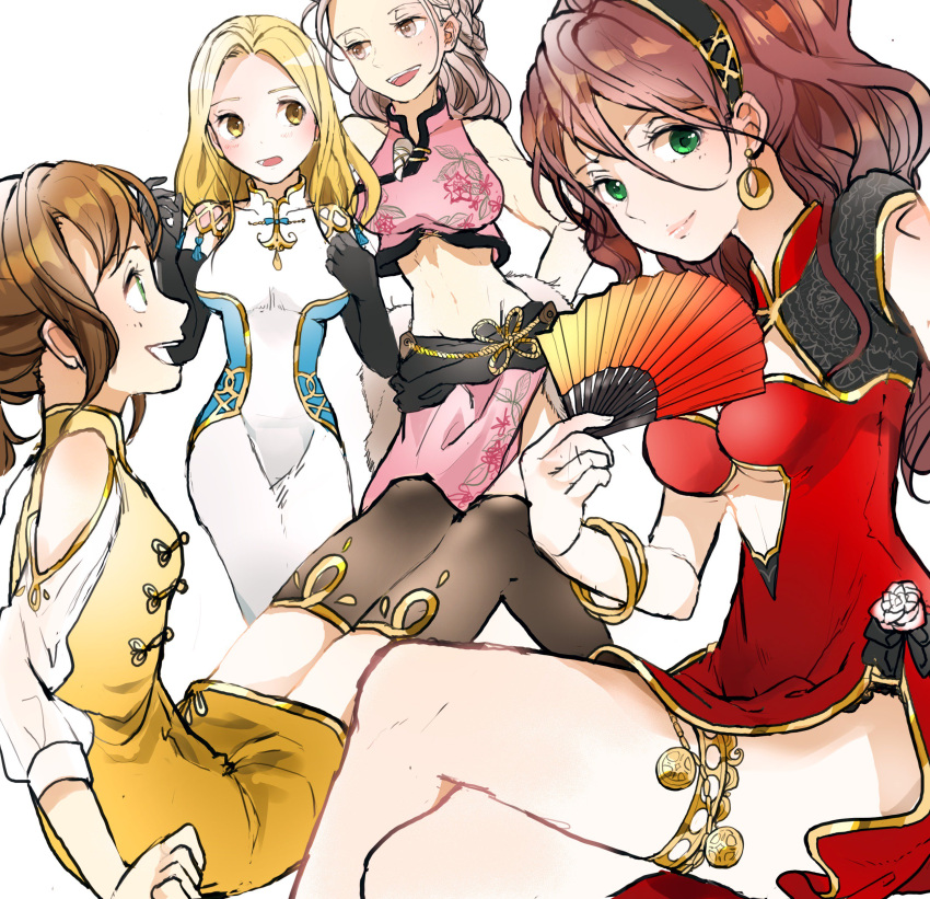 absurdres blonde_hair braid brown_hair chinese_clothes dancer dress fan green_eyes h'aanit_(octopath_traveler) highres jewelry long_hair multiple_girls navel necklace octopath_traveler open_mouth ophilia_(octopath_traveler) ponytail primrose_azelhart rico_ot short_hair simple_background smile thigh-highs tressa_(octopath_traveler)