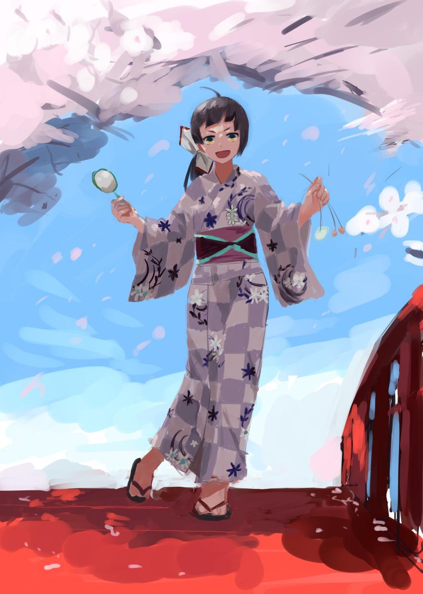 1girl :d absurdres ahoge alternate_costume checkered checkered_kimono cherry_blossoms fujinami_(kantai_collection) full_body geta hair_ribbon highres holding japanese_clothes kantai_collection kimono kitagawa_(ktgw_116) long_hair looking_at_viewer open_mouth purple_hair purple_kimono ribbon side_ponytail smile solo v-shaped_eyebrows white_ribbon yellow_eyes yukata