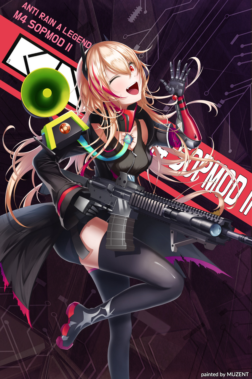 1girl :d ;d absurdres assault_rifle bangs black_coat black_jumpsuit black_legwear blonde_hair boots breasts character_name chest_plate clothes_writing coat eotech gas_mask girls_frontline gun hand_up headgear highres holding holding_gun holding_weapon huge_filesize jumpsuit leg_up logo m4_carbine m4_sopmod_ii m4_sopmod_ii_(girls_frontline) magazine_(weapon) mechanical_arm megaphone mod3_(girls_frontline) multicolored_hair multiple_straps muzent one_eye_closed open_clothes open_coat open_mouth pouch prosthesis prosthetic_arm red_eyes redhead ribbon rifle ro635_(dinergate) short_jumpsuit sidelocks sleeveless_jumpsuit small_breasts smile standing standing_on_one_leg streaked_hair thigh-highs thigh_boots torn_clothes torn_coat torn_jacket trigger_discipline two-tone_hair weapon zettai_ryouiki zipper zipper_pull_tab